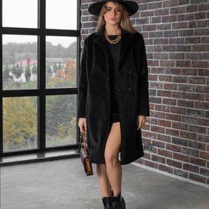 Linda Richards teddy black coat Suri alpaca wool 8